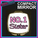NUMBER ONE 1 SISTER COMPACT LADIES METAL HANDBAG GIFT MIRROR